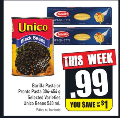 Barilla Pasta or Pronto Pasta 304-454 g Selected Varieties Unico Beans 540 mL