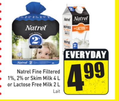 Natrel Fine Filtered 1% - 2% or Skim Milk 4 L or Lactose Free Milk 2 L