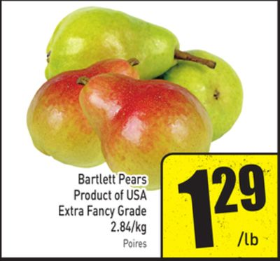 Bartlett Pears Product of USA Extra Fancy Grade 2.84/kg