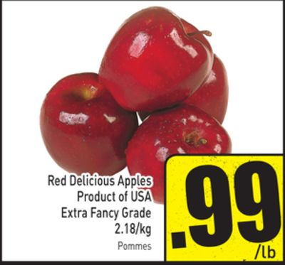 Red Delicious Apples Extra Fancy Grade 2.18/kg