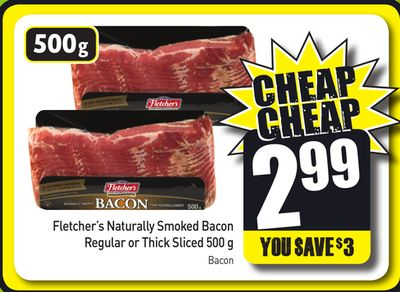 Fletcher's Naturally Smoked Bacon Regular or Thick Sliced 500 g Bacon
