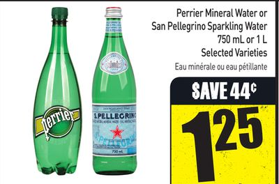 Perrier Mineral Water or San Pellegrino Sparkling Water 750 mL or 1 L Selected Varieties