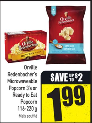 Orville Redenbacher's Microwaveable Popcorn 3's or Ready To Eat Popcorn 116-220 g