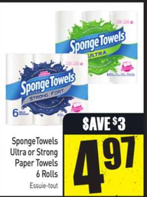 Spongetowels Ultra or Strong Paper Towels 6 Rolls