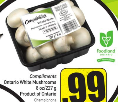 Compliments Ontario White Mushrooms 8 Oz/227 g Product of Ontario