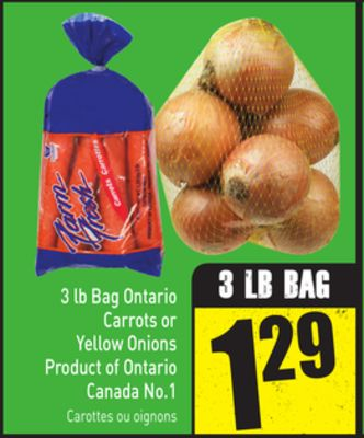 3 Lb Bag Ontario Carrots or Yellow Onions Product of Ontario Canada No.1