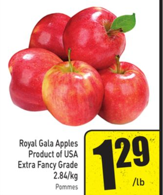 Royal Gala Apples Product of USA Extra Fancy Grade 2.84/kg