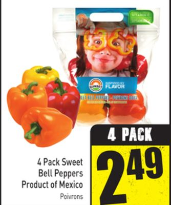 4 Pack Sweet Bell Peppers Product of Mexico