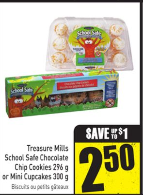 Treasure Mills School Safe Chocolate Chip Cookies 296 g or Mini Cupcakes 300 g