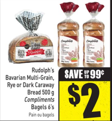 Rudolph's Bavarian Multi-grain - Rye or Dark Caraway Bread 500 g Compliments Bagels 6's