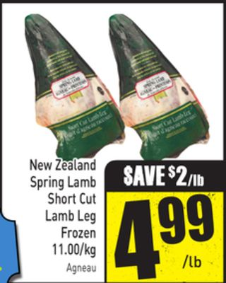New Zealand Spring Lamb Short Cut Lamb Leg Frozen 11.00/kg