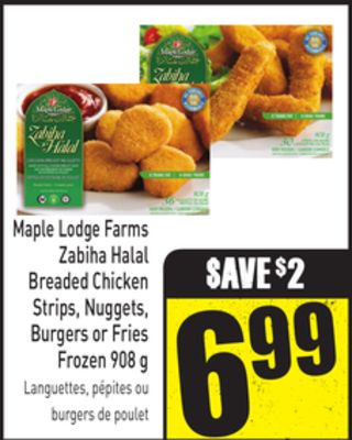 Maple Lodge Farms Zabiha Halal Breaded Chicken Strips - Nuggets - Burgers or Fries Frozen 908 g