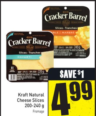 Kraft Natural Cheese Slices 200-240 g