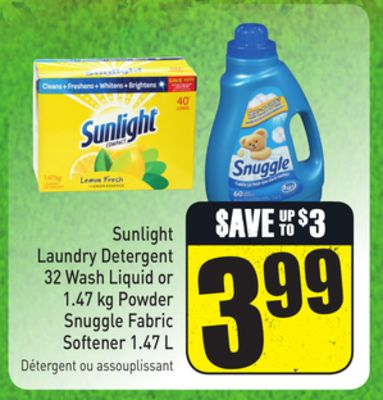 Sunlight Laundry Detergent 32 Wash Liquid or 1.47 Kg Powder Snuggle Fabric Softener 1.47 L