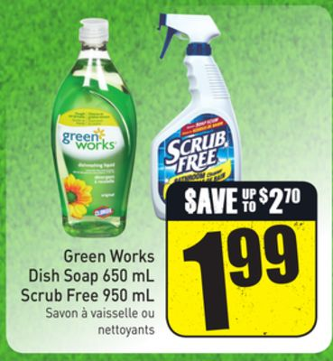 Green Works Dish Soap 650 mL Scrub Free 950 mL