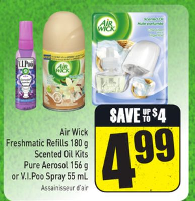 Air Wick Freshmatic Refills 180 g Scented Oil Kits Pure Aerosol 156 g or V.i.poo Spray 55 mL