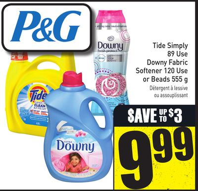 Tide Simply 89 Use Downy Fabric Softener 120 Use or Beads 555 g
