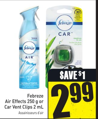 Febreze Air Effects 250 g or Car Vent Clips 2 mL
