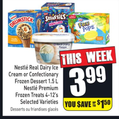Nestlé Real Dairy Ice Cream or Confectionary Frozen Dessert 1.5 L Nestlé Premium Frozen Treats 4-12's Selected Varieties