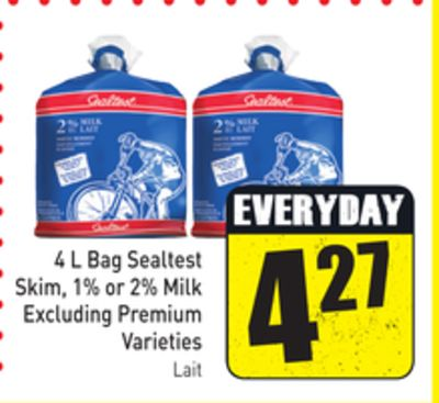4 L Bag Sealtest Skim - 1% or 2% Milk Excluding Premium Varieties
