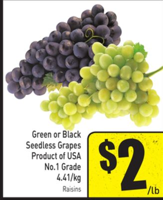 Green or Black Seedless Grapes Product of USA No.1 Grade 4.41/kg