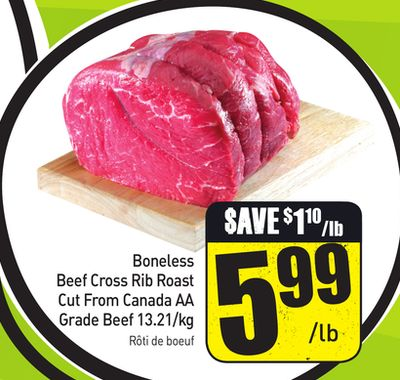 Boneless Beef Cross Rib Roast Cut From Canada Aa Grade Beef 13.21/kg