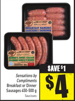 Sensations By Compliments Breakfast or Dinner Sausages 450-500 g