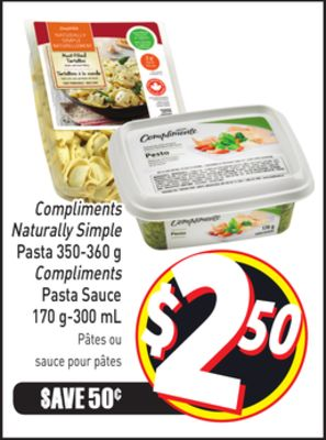 Compliments Naturally Simple Pasta 350-360 g Compliments Pasta Sauce 170 G-300 mL