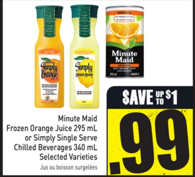 Minute Maid Frozen Orange Juice 295 mL or Simply Single Serve Chilled Beverages 340 mL Selected Varieties