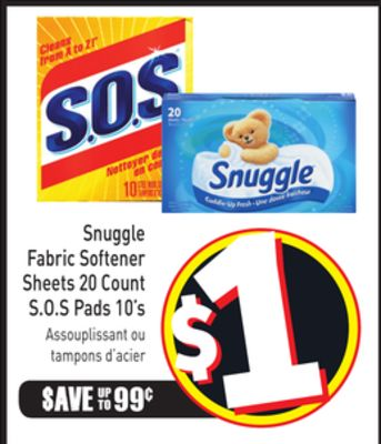 Snuggle Fabric Softener Sheets 20 Count S.o.s Pads 10's