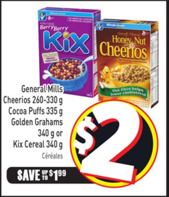 General Mills Cheerios 260-330 g Cocoa Puffs 335 g Golden Grahams 340 g or Kix Cereal 340 g