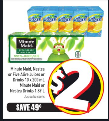 Minute Maid - Nestea or Five Alive Juices or Drinks 10 X 200 mL Minute Maid or Nestea Drinks 1.89 L