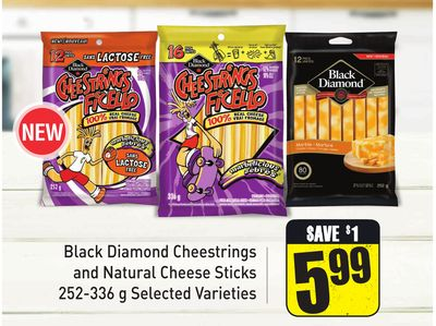 Black Diamond Cheestrings and Natural Cheese Sticks 252-336 g Selected Varieties