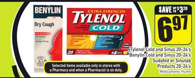 Tylenol Cold and Sinus 20-24's Benylin Cold and Sinus 20-24's Sudafed or Sinutab Products 20-24's