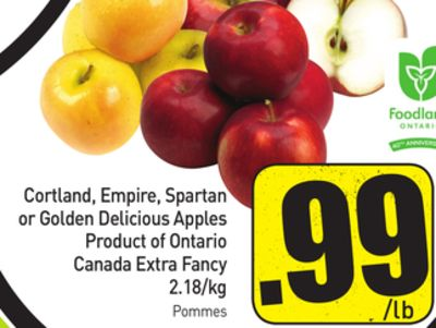 Cortland - Empire - Spartan or Golden Delicious Apples Product of Ontario Canada Extra Fancy 2.18/kg