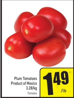 Plum Tomatoes Product of Mexico 3.28/kg
