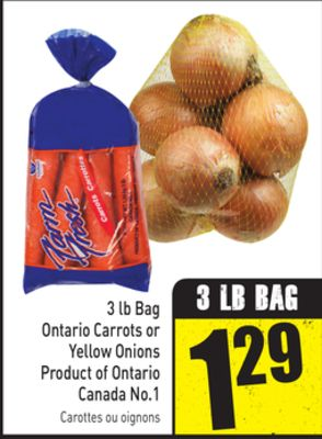 3 Lb Bag Ontario Carrots or Yellow Onions