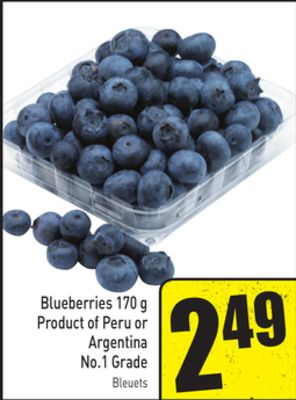 Blueberries 170 g Product of Peru or Argentina No.1 Grade