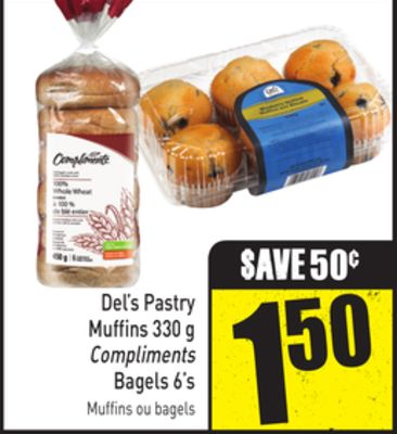Del's Pastry Muffins 330 g Compliments Bagels 6's
