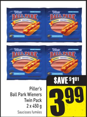 Piller's Ball Park Wieners Twin Pack 2 X 450 g
