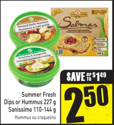 Summer Fresh Dips or Hummus 227 g Sanissimo 110-144 g