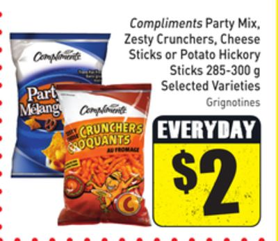 Compliments Party Mix - Zesty Crunchers - Cheese Sticks or Potato Hickory Sticks 285-300 g