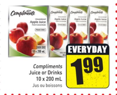 Compliments Juice or Drinks 10 X 200 mL