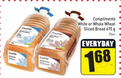 Compliments White or Whole Wheat Sliced Bread 675 g
