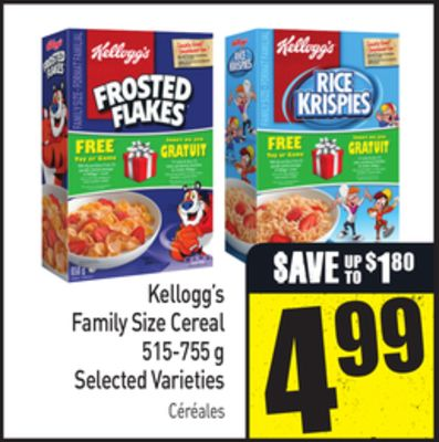 Kellogg's Family Size Cereal 515-755 g Selected Varieties