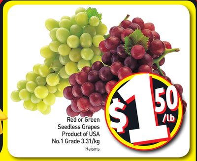Red or Green Seedless Grapes Product of USA No.1 Grade 3.31/kg