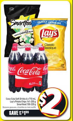 Coca-cola Soft Drinks 6 X 710 mL Lay's Potato Chips 141-255 g Smartfood 150-220 g