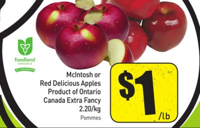 Mcintosh or Red Delicious Apples Product of Ontario Canada Extra Fancy 2.20/kg