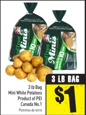 3 Lb Bag Mini White Potatoes Product of Pei