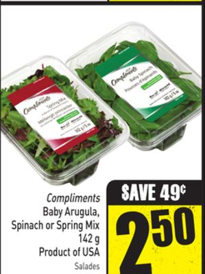 Compliments Baby Arugula - Spinach or Spring Mix 142 g Product of USA